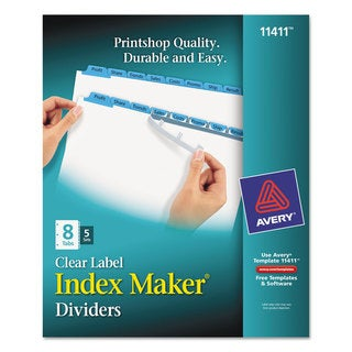 Avery Print & Apply Clear Label Dividers with Color Tabs 8-Tab Letter 5 Sets