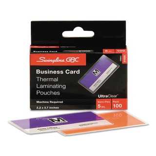 Swingline GBC ULetteraClear Thermal Laminating Pouches 5mil 2 3/16 x 3 11/16 Business Card,100