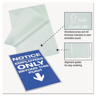 Swingline GBC EZUse Thermal Laminating Pouches 3 mil 11 1/2 x 17 1/2 100/Box