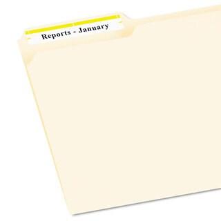 Avery Permanent File Folder Labels TrueBlock Inkjet/Laser Yellow Border 1500/Box