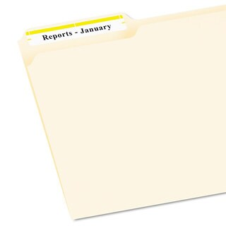 Avery Permanent File Folder Labels TrueBlock Inkjet/Laser Yellow Border 1500/Box