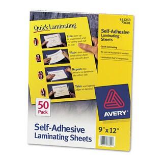 Avery Clear Self-Adhesive Laminating Sheets 3 mil 9 x 12 50/Box