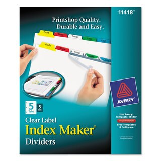 Avery Print and Apply Clear Label Dividers with Color Tabs 5-Tab Letter 5 Sets
