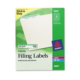 Avery Permanent File Folder Labels TrueBlock Inkjet/Laser Green Border 1500/Box
