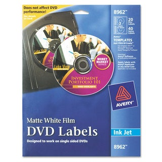 Avery Inkjet DVD Labels Matte White 20/Pack
