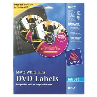 Avery Inkjet DVD Labels Matte White 20/Pack