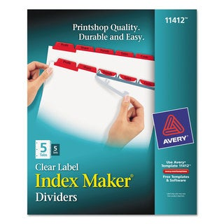 Avery Print & Apply Clear Label Dividers with Color Tabs 5-Tab Letter 5 Sets