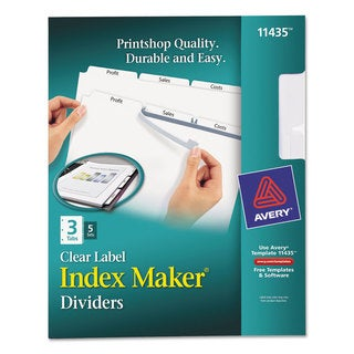 Avery Print & Apply Clear Label Dividers with White Tabs 3-Tab Letter 5 Sets