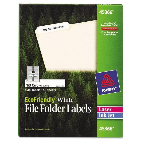 Avery EcoFriendly File Folder Labels 2/3 x 3 7/16 White 1500/Pack