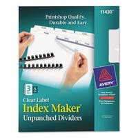 Avery Print & Apply Clear Label Unpunched Dividers with White Tabs 3-Tab Letter 5 Sets