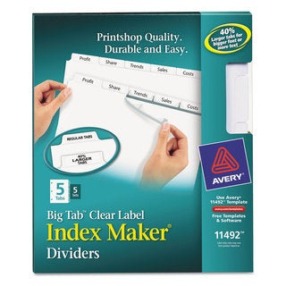 Avery Print and Apply Clear Label Dividers with White Tabs 5-Tab Letter 5 Sets