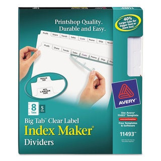 Avery Print & Apply Clear Label Dividers with White Tabs 8-Tab Letter 5 Sets