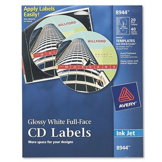 Avery Inkjet Full-Face CD Labels Glossy White 20/Pack