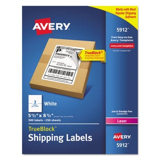Avery Shipping Labels with Ultrahold Ad & TrueBlock Laser 5 1/2 x 8 1/2 White 500/Box