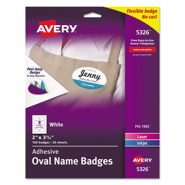 shop avery flexible oval self adhesive laser inkjet name badge label