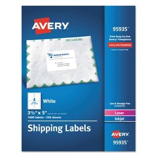 Avery White Shipping Labels Inkjet/Laser 3 1/2 x 5 White 1000/Box