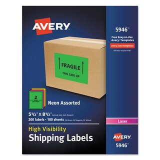 Avery Neon Shipping Label Laser 5 1/2 x 8 1/2 Neon Assorted 200/Box