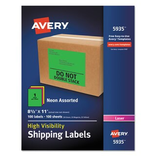 Avery Neon Shipping Label Laser 8 1/2 x 11 Neon Assorted 100/Box