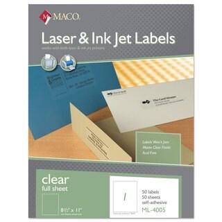 MACO Laser/Inkjet Matte Clear Full Sheet Labels 8 1/2 x 11 50/Box