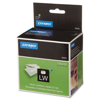 DYMO LabelWriter 2-UP Address Labels 1 1/8 x 3 1/2 White 700 Labels/Roll