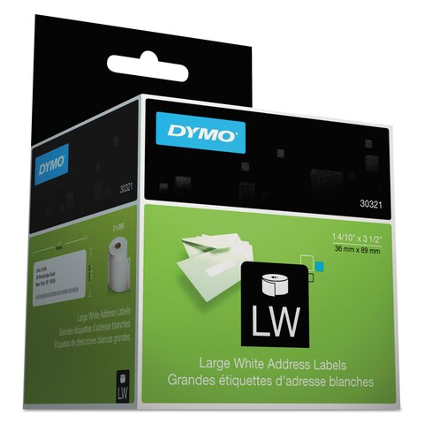 DYMO LabelWriter Address Labels 1 2/5 x 3 1/2 White 260 Labels/Roll 2 Rolls/Pack