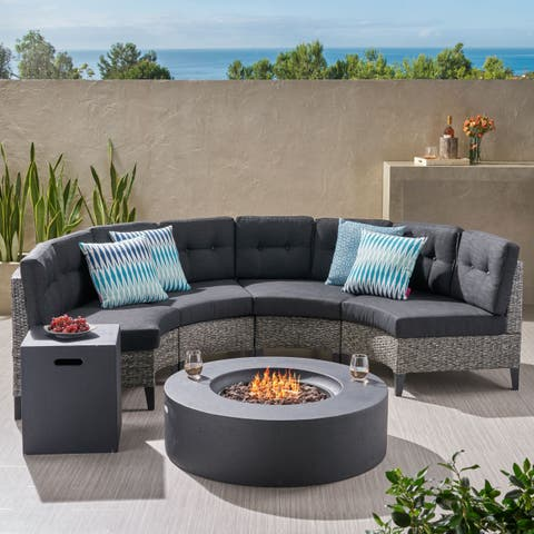 Navagio Outdoor 6-piece Wicker Half Round Sofa Set with Fire Table by Christopher Knight Home