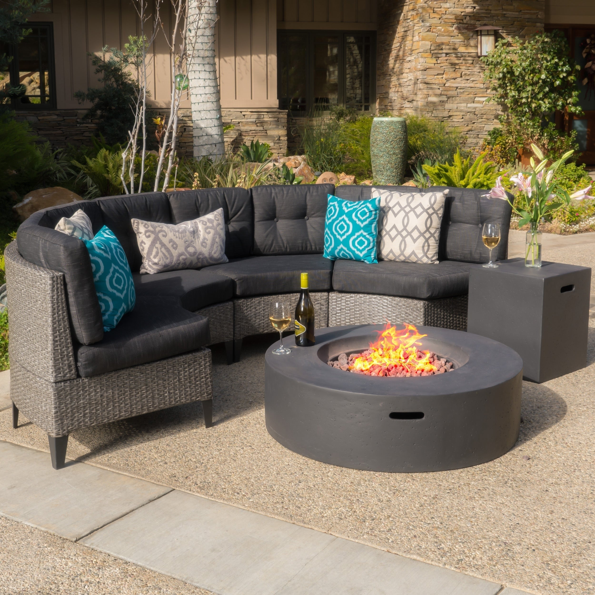 Wondrous Navagio Outdoor 6 Piece Wicker Half Round Sofa Set With Fire Table By Christopher Knight Home Machost Co Dining Chair Design Ideas Machostcouk