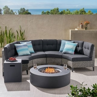 Navagio Outdoor 6-piece Wicker Half Round Sofa Set with Fire Table by Christopher Knight Home (2 options available)