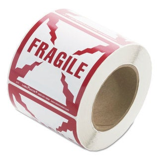 LabelMaster Shipping and Handling Self-Adhesive Label 4 x 4 FRAGILE 500/Roll