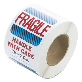 LabelMaster Shipping/Handling Self-Adhesive Label 4 x 6 FRAGILE/HANDLE WITH CARE 500/Roll