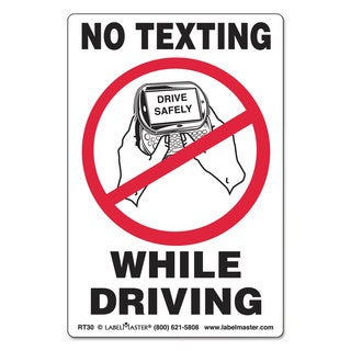 LabelMaster No Texting Self-Adhesive Label 4 x 6 NO TEXTING WHILE DRIVING 500/Roll