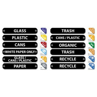 Rubbermaid Commercial Recycle Label Kit 44 Labels in Three Languages 8 x 1-1/2