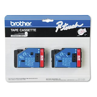 Brother P-Touch TC Tape Cartridges for P-Touch Labelers 1/2w Red on Clear 2/Pack