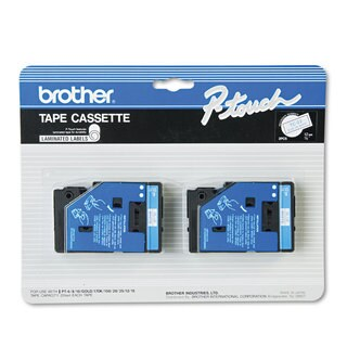 Brother P-Touch TC Tape Cartridges for P-Touch Labelers 1/2w Blue on White 2/Pack
