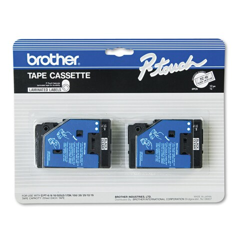Brother P-Touch TC Tape Cartridges for P-Touch Labelers 1/2w Black on Clear 2/Pack