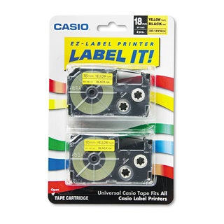 Casio Tape Cassettes for KL Label Makers 18mm x 26ft Black on Yellow 2/Pack