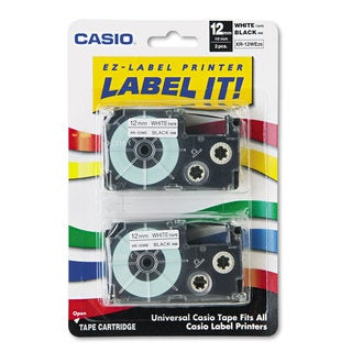 Casio Tape Cassettes for KL Label Makers 12mm x 26ft Black on White 2/Pack
