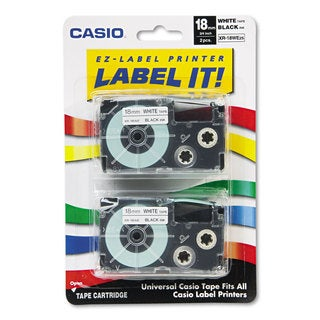 Casio Tape Cassettes for KL Label Makers 18mm x 26ft Black on White 2/Pack