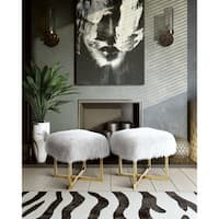 Nomo Gold Stainless Steel and White Sheepskin Bench
