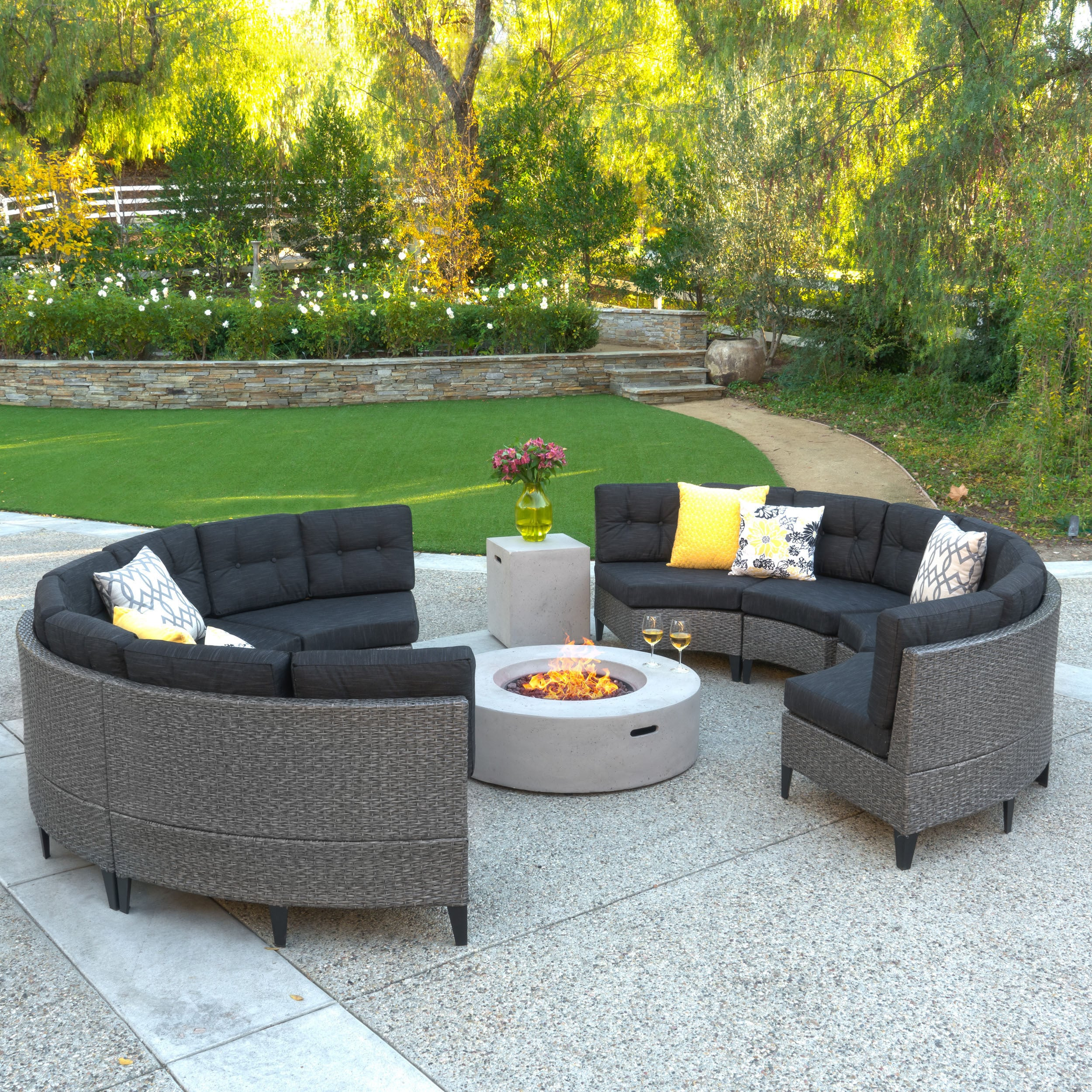 Navagio Outdoor 10 Piece Wicker Full Round Sofa Set With Fire Table By Christopher Knight Home On Sale Overstock 14009608