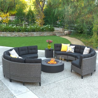 Navagio Outdoor 10-piece Wicker Full Round Sofa Set with Fire Table by Christopher Knight Home
