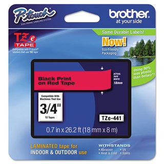 Brother P-Touch TZe Standard Adhesive Laminated Labeling Tape 3/4-inch wide Black on Red