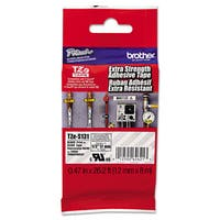 Brother P-Touch TZe Extra-Strength Adhesive Laminated Labeling Tape 1/2w Black on Clear