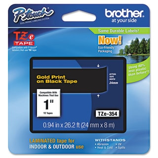 Brother P-Touch TZe Standard Adhesive Laminated Labeling Tape 1w Gold on Black