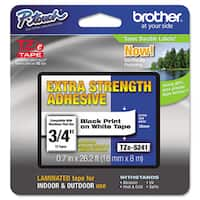 Brother P-Touch TZe Extra-Strength Adhesive Laminated Labeling Tape 3/4w Black on White
