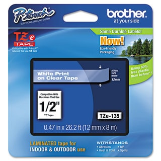 Brother P-Touch TZe Standard Adhesive Laminated Labeling Tape 1/2w White on Clear