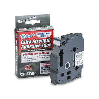 Brother P-Touch TZ Extra-Strength Adhesive Laminated Labeling Tape 3/4w Black on Matte Silver