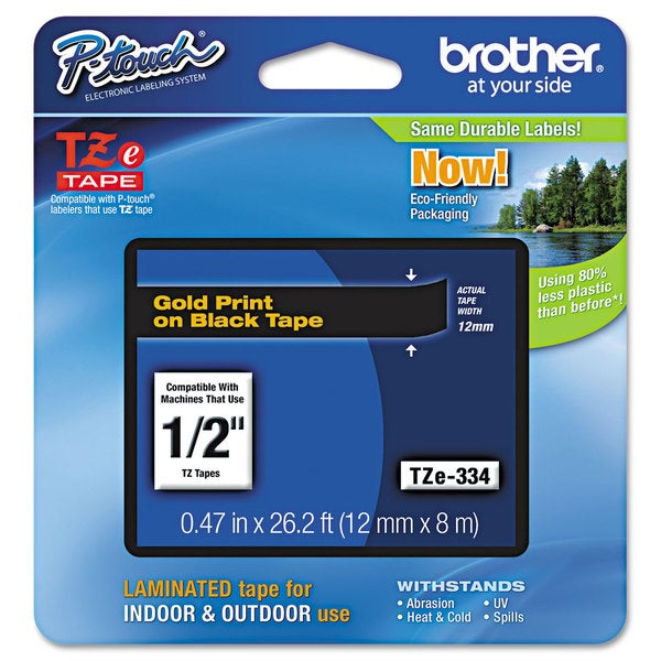 Brother P-Touch TZe Standard Adhesive Laminated Labeling Tape 1/2w Gold on Black