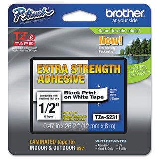 Brother P-Touch TZe Extra-Strength Adhesive Laminated Labeling Tape 1/2w Black on White