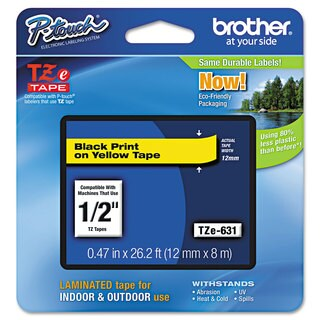 Brother P-Touch TZe Standard Adhesive Laminated Labeling Tape 1/2w Black on Yellow